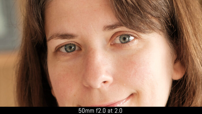 crop on the eyes of the subject with the 50mm f2