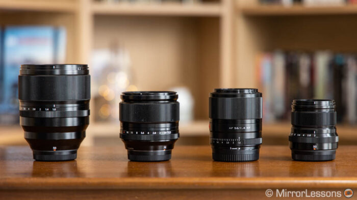 the four lenses side by side without hoods