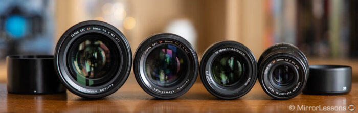 the four lenses side by side view from the front