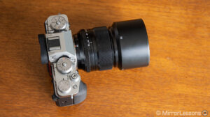Fujifilm 56mm f1.2 mounted on the X-T4