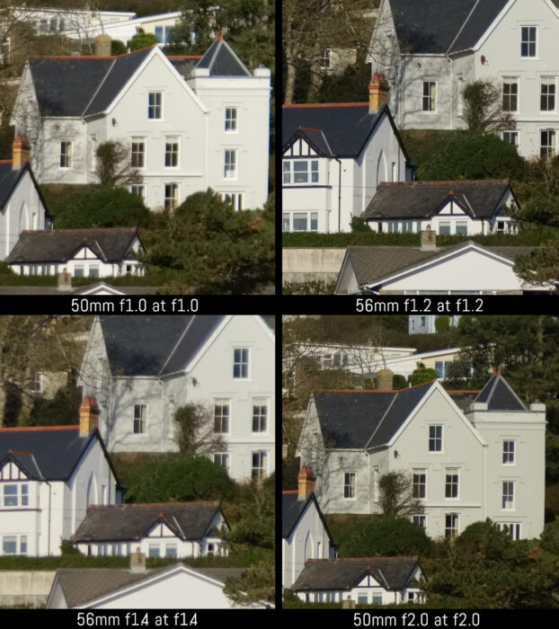 corner crop of the four images taken with the four lenses at their fastest aperture