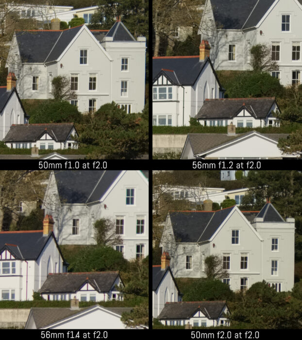 corner crop of the four images taken with the four lenses at f2
