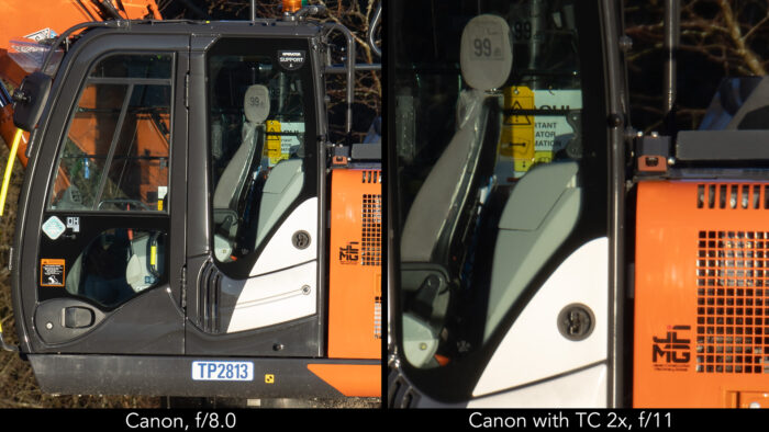 side by side image showing the close-up of an excavator, on the left taken with the Canon 800mm at f8, on the right with the Canon 800mm plus Extender 2x at f11