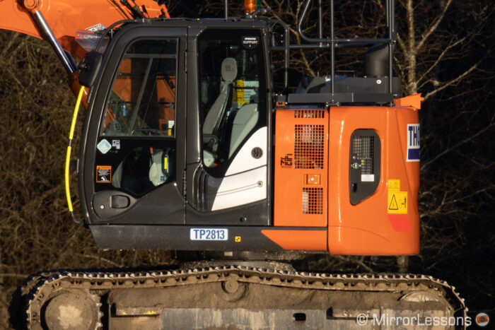 close-up of an excavator taken with the Canon 800mm and EF Extender 2x 3