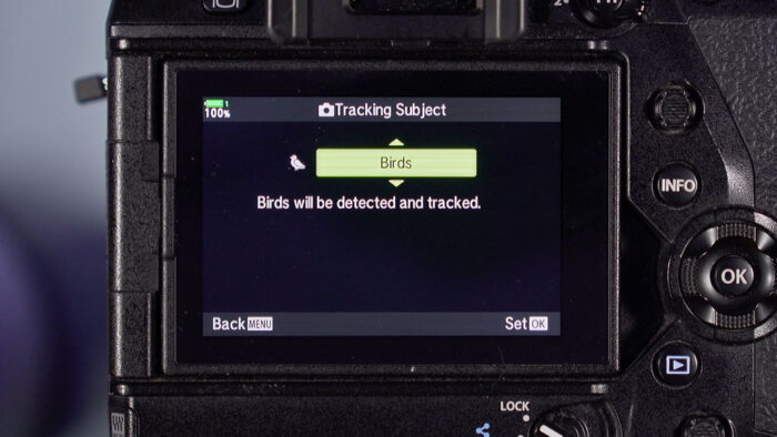 bird detection setting on the E-M1X