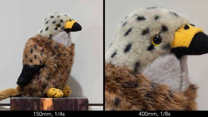 side by side image of the kite stuffed toy, taken hand-held at 150mm and 1/4s on the left, 400mm and 1/8s on the right