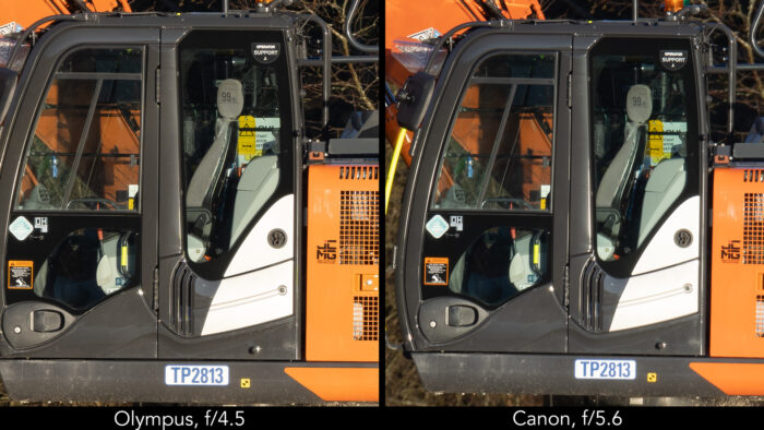 side by side image showing the close-up of an excavator, on the left taken with the Olympus 150-400mm Pro at 400mm and f4.5, on the right with the Canon 800mm at f5.6