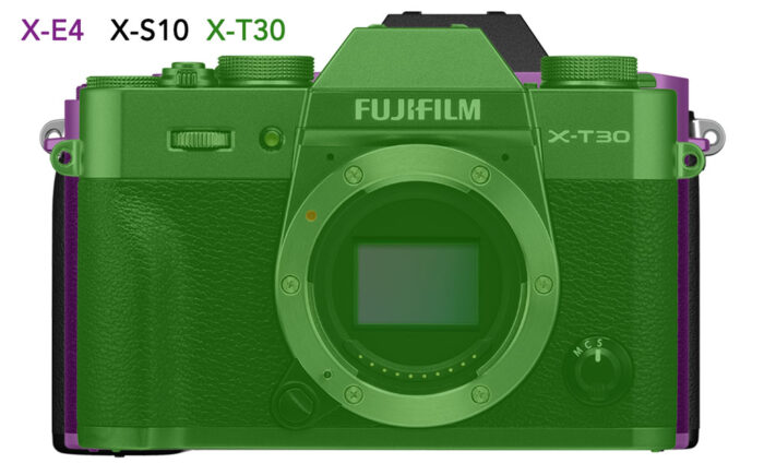 difference in size between the X-E4, X-S10 and X-T30, front view