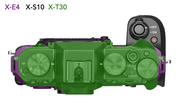 difference in size between the X-E4, X-S10 and X-T30, top view