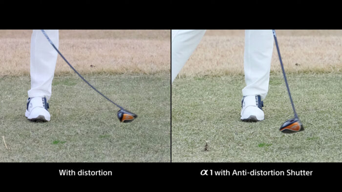 two images side by side comparing distortion with rolling shutter, and no distortion with the anti-distortion shutter of the A1, using a golf action as example