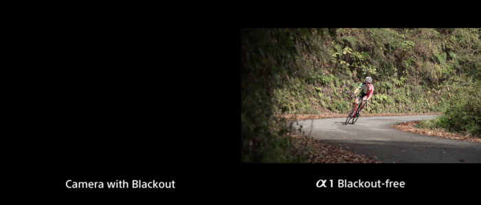 side by side comparison between view with blackout and without blackout, the image on the left is now dark