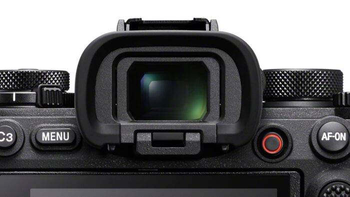 close-up on the sony a1 viewfinder