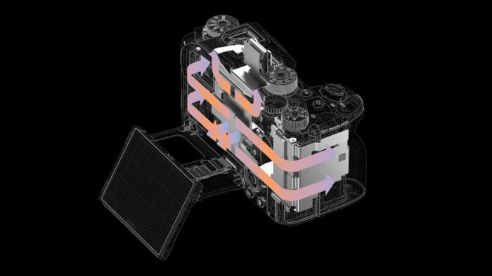illustration showing the heat dissipation on the sony a1