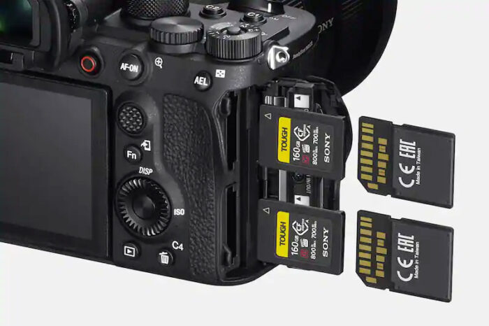 close-up on the sony a1 and the compatible memory cards
