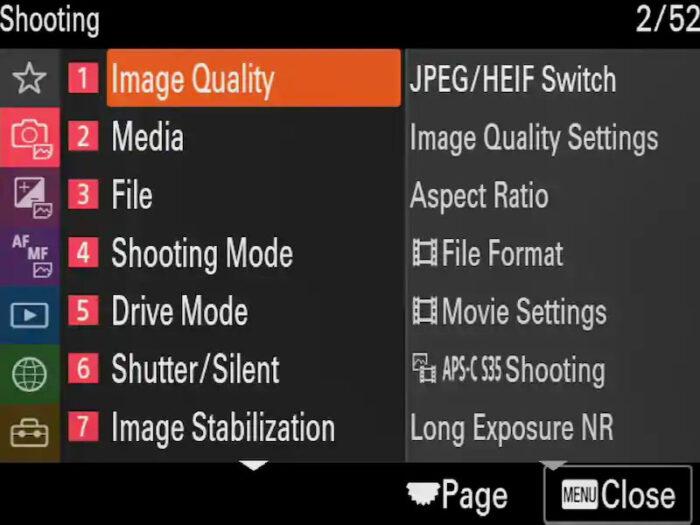 screenshot of the sony a1 menu system