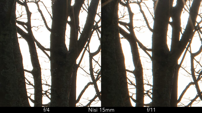 side by side crop of the previous image showcasing chromatic aberration at f4 and f11