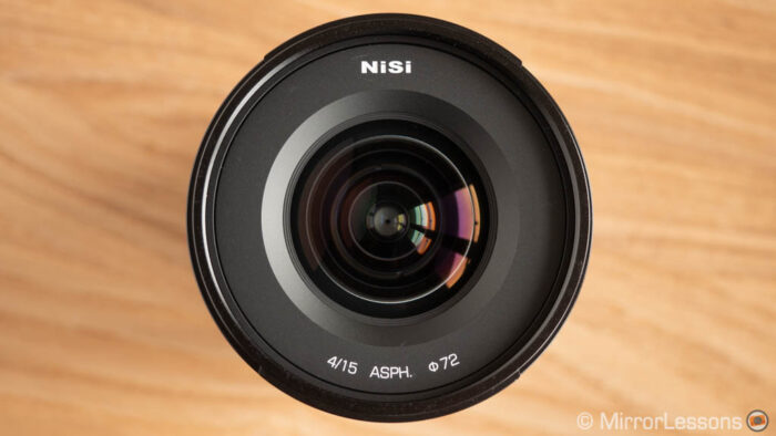 front view of the Nisi 15mm lens
