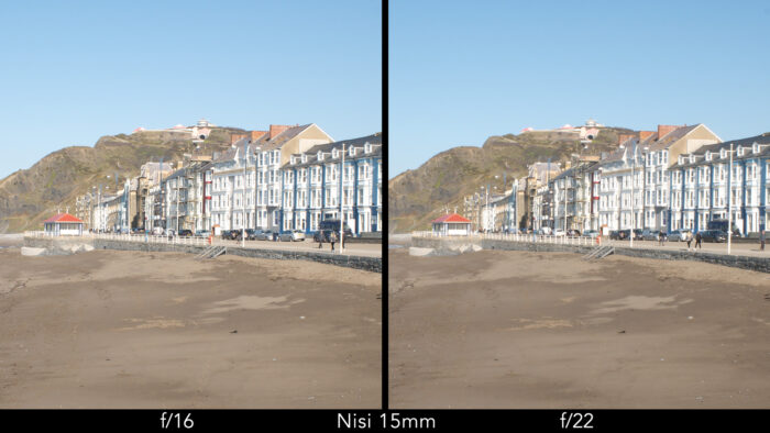 side by side centre crop of a seaside town taken with the Nisi lens showcasing the sharpness at f16 and f22