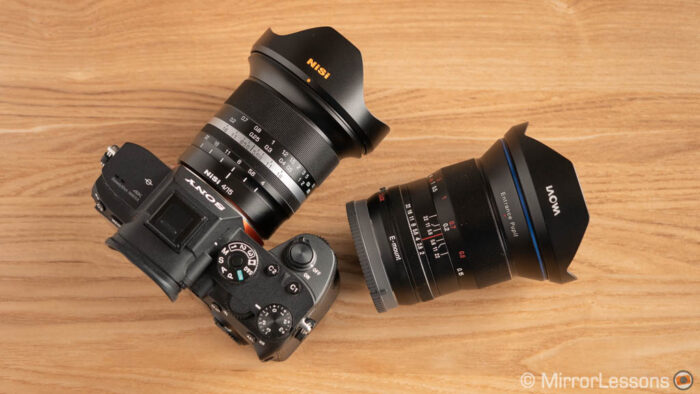 Nisi 15mm mounted on the Sony A7R III, and the Laowa 15mm f2 next to it