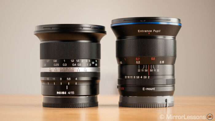 nisi 15mm f4 and laowa 15mm f2 side by side, without lens hoods