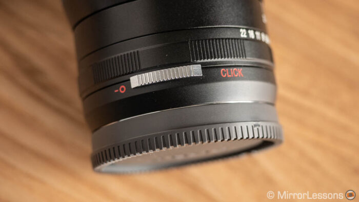 close-up on the clicking mechanism lever on the Laowa 15mm lens