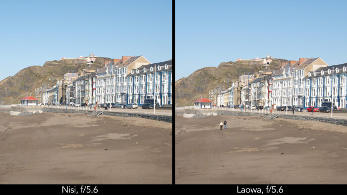 side by side centre crop of a seaside town taken with the Nisi and Laowa lens showcasing the sharpness at f4 and f5.6