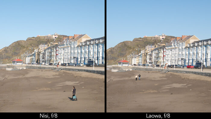 side by side centre crop of a seaside town taken with the Nisi and Laowa lens showcasing the sharpness at f4 and f8