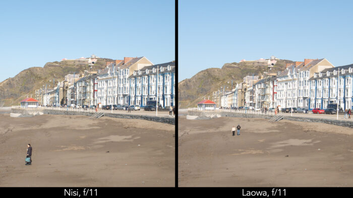 side by side centre crop of a seaside town taken with the Nisi and Laowa lens showcasing the sharpness at f4 and f11