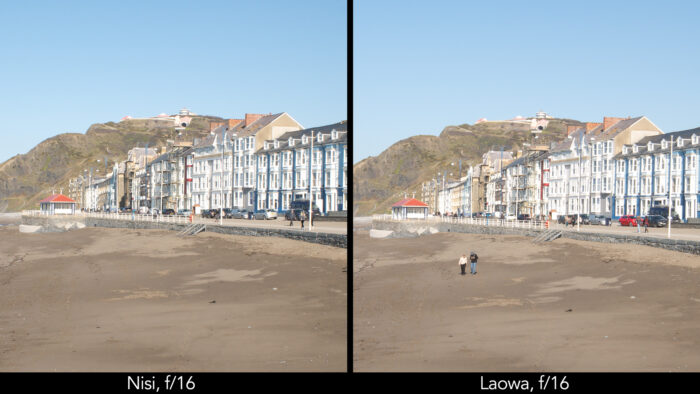side by side centre crop of a seaside town taken with the Nisi and Laowa lens showcasing the sharpness at f4 and f16