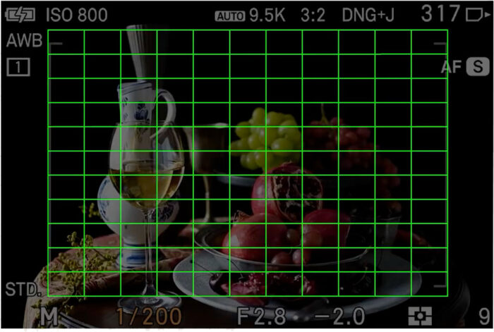49 autofocus points displayed on the LCD screen of the Sigma FP L