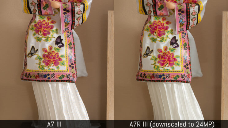side by side crop of the Japanese doll, the A7r iii version on the right is downscaled to 24MP