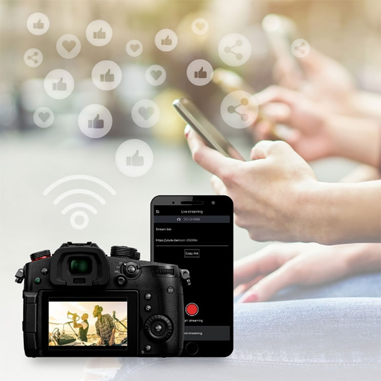 photo montage showing the GH5 II and the Lumix Sync app