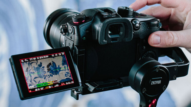 rear view of the Panasonic GH5 II with red frame around the edges of the LCD screen