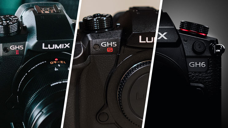 photo collage with close-up of the GH5 II, GH5S and GH6