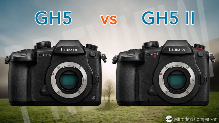 Panasonic gh5 next to the gh5 II, front view