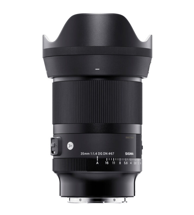 sigma 35mm 1.4 DG DN with hood on white background