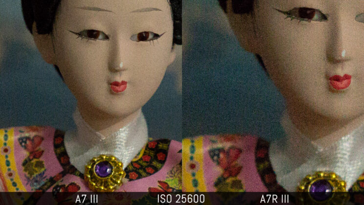 side by side crop of the doll image image showing the quality of the A7 III and A7R III at ISO 25600