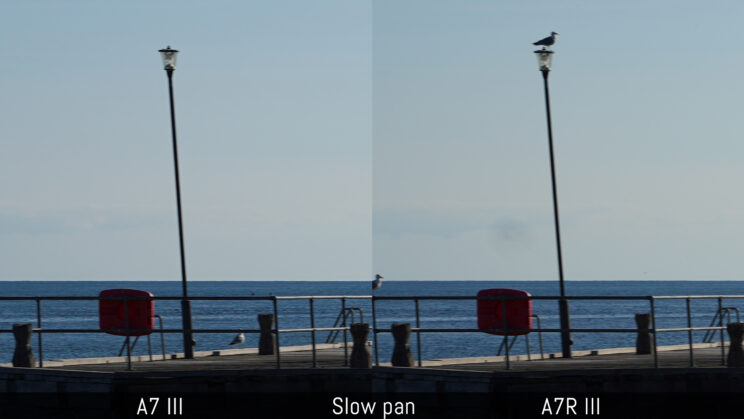 side by side image of a street lamp taken with the A7 III and A7R III while panning slowly to see the amount of rolling shutter