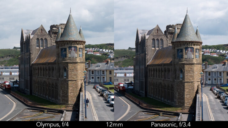 side by side enlargement of the centre of the image (where the castle is) showcasing the difference in sharpness between the two lenses set at 12mm and f4 for the Olympus, f3.4 for the Panasonic lens