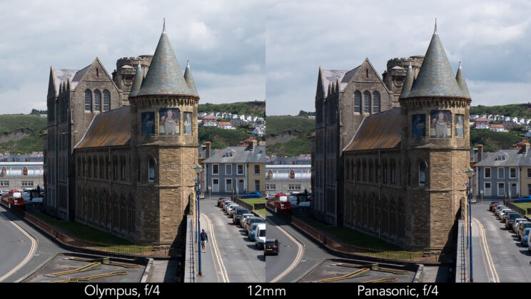 side by side enlargement of the centre of the image (where the castle is) showcasing the difference in sharpness between the two lenses set at 12mm and f4