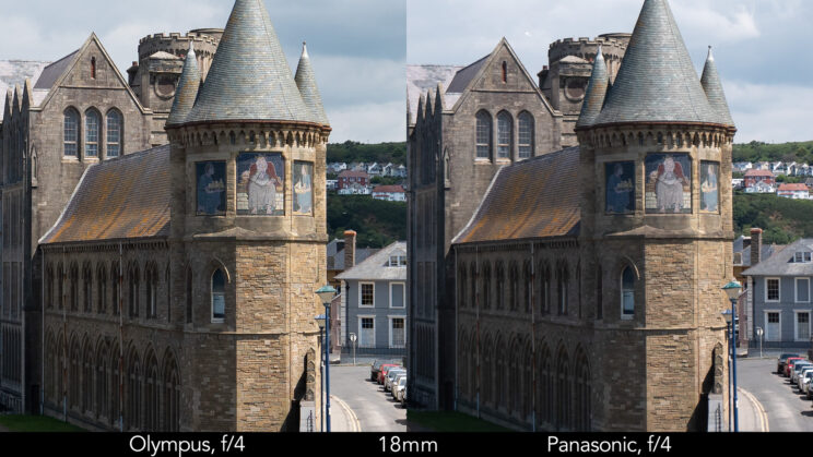 side by side enlargement of the centre of the image (where the castle is) showcasing the difference in sharpness between the two lenses set at 18mm and f4