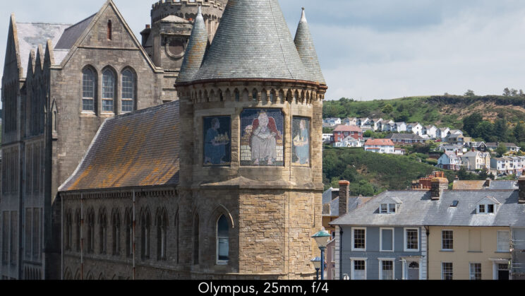 enlargement of the centre of the image (where the castle is) showcasing the quality at 25mm and f4 for the Olympus lens