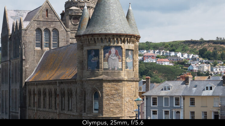 enlargement of the centre of the image (where the castle is) showcasing the quality at 25mm and f5.6 for the Olympus lens