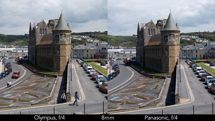 side by side enlargement of the centre of the image (where the castle is) showcasing the difference in sharpness between the two lenses set at 8mm and f4