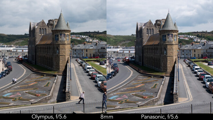 side by side enlargement of the centre of the image (where the castle is) showcasing the difference in sharpness between the two lenses set at 8mm and f5.6