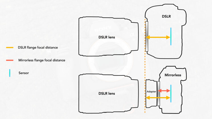 graphic illustration showing the distance in flange distance between a DSLR and a mirrorless camera
