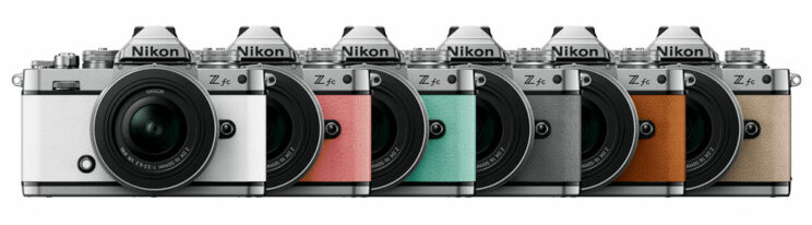 showcase of the various colours available for the Nikon Z fc: white, pink, cyan, pale green, orange and beige.