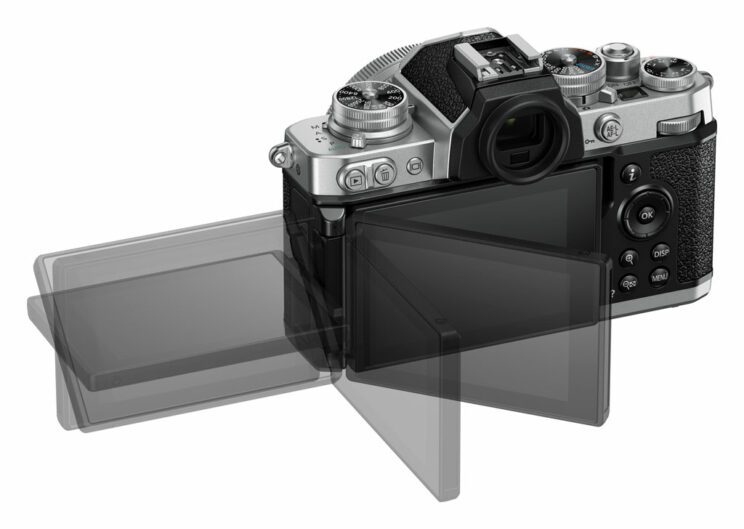 nikon z fc on white background showing the various positions of the lcd screen