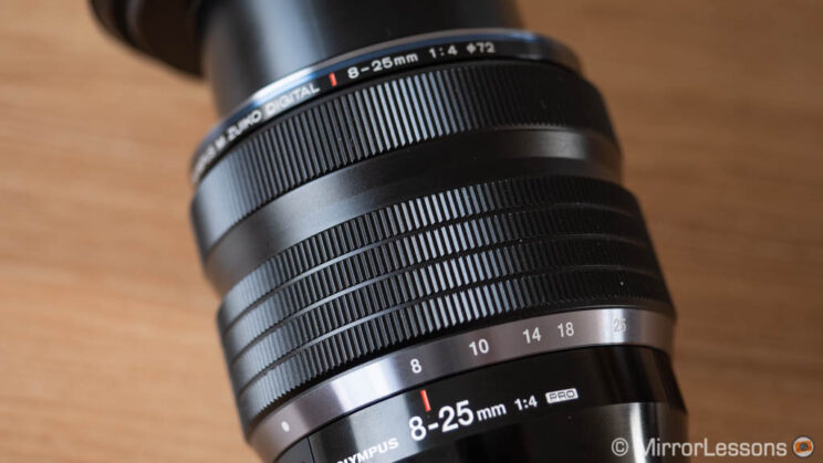 close-up on the zoom and focus ring of the Olympus 8-25mm Pro
