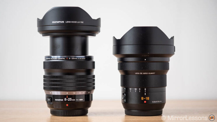 Olympus 8-25mm Pro and Panasonic 8-18mm side by side, with lens hood and with the Olympus lens fully extended